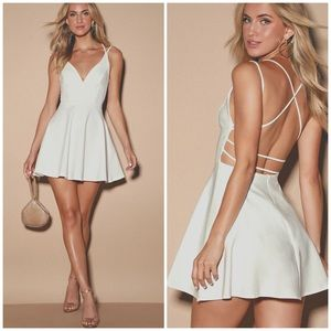 Lulus believe in love dress skater strappy white
